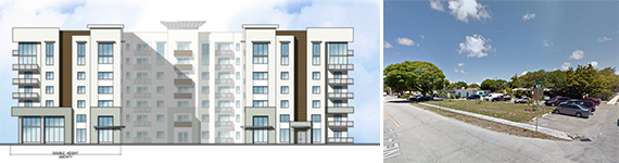 Rendering of Morgan's Flagler Village apartment building and a photo of the development site