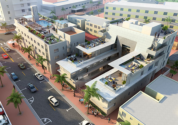 Aerial rendering of hotel, including five-story addition with step-back terraces