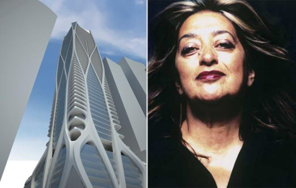 One Thousand Museum rendering and Zaha Hadid