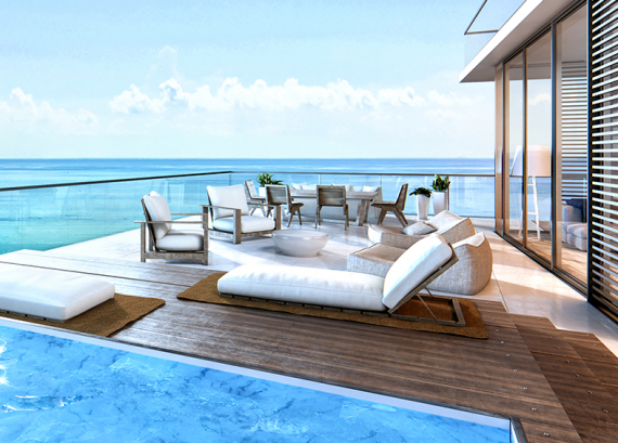 Rendering of an Auberge unit's balcony