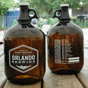 Beer growlers bearing the brand of craft brewery Orlando Brewing