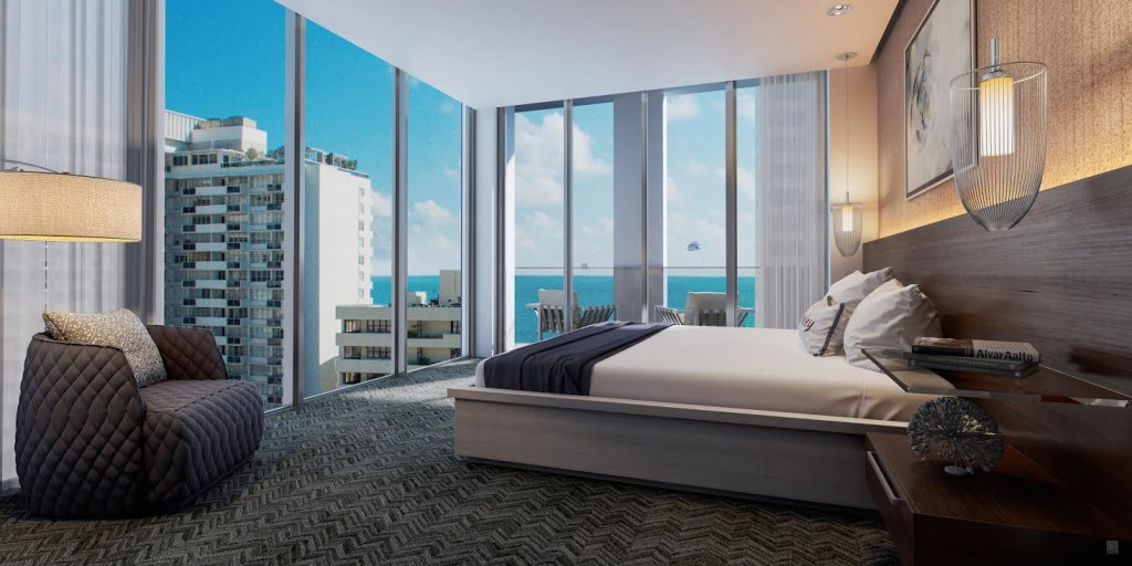 Rendering of a guest room at the Berkeley Shore