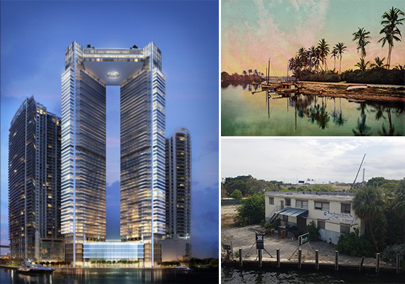 Rendering of One River Point, the Miami River in 1900 and a photo from the boat tour on Thursday
