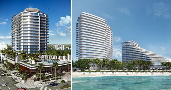 Renderings of Paramount Fort Lauderdale, left, and Auberge Beach Residences & Spa, right