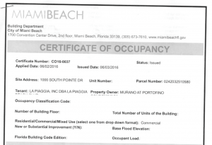 Certificate of occupancy (click to enlarge)
