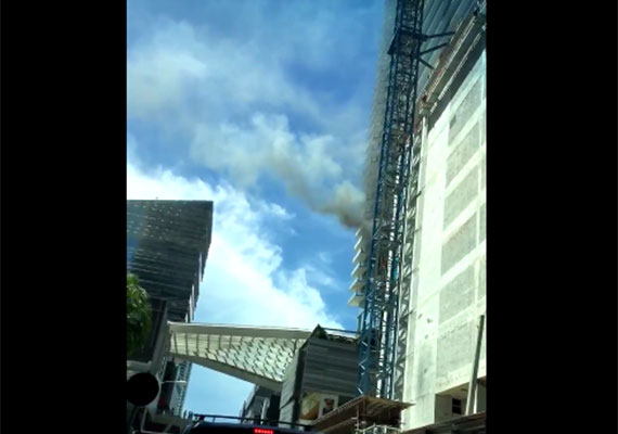 Smoke billowing from Brickell City Centre's EAST Hotel