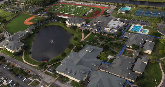 Aerial view of the North Broward Preparatory School campus