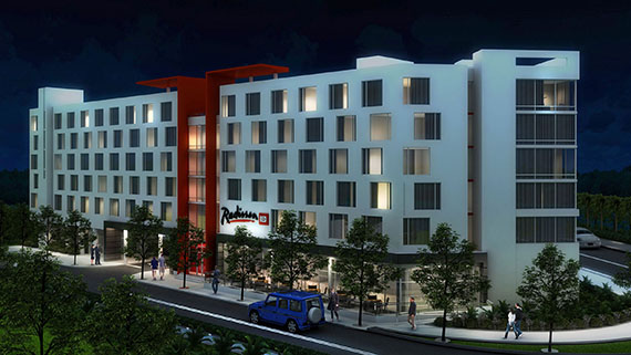 Rendering of the Radisson RED Miami airport hotel
