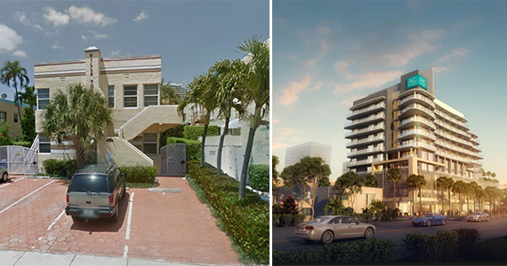 The apartments at 3017 Alhambra Street, left, and a rendering of the approved AC Hotel by Marriott