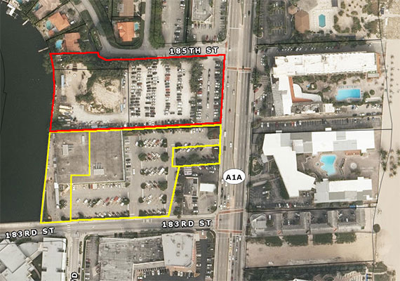 Publix's land marked in yellow, while Dezer's properties are marked in red