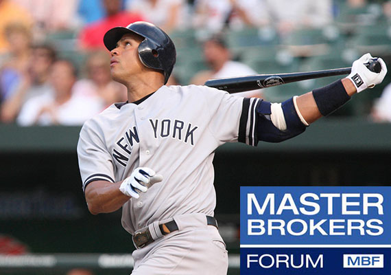 A 2007 photo of New York Yankees player Alex Rodriguez mid-swing (Credit: Keith Allison)