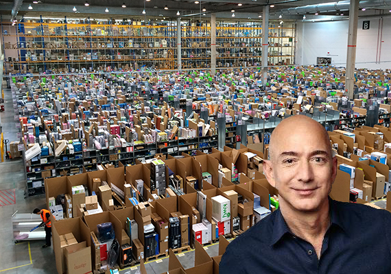 An Amazon warehouse in Spain and Jeff Bezos