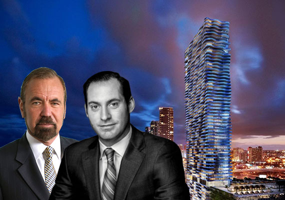 Jorge and Jon Paul Perez and a rendering of Auberge Residences & Spa Miami (Credit: ArX Solutions)