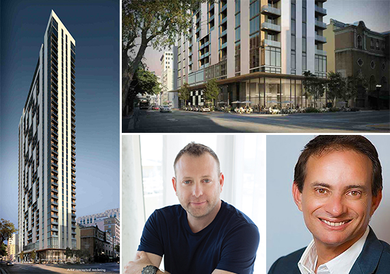 Clockwise from left: Renderings of Cendro and the retail condo, Gil Blutrich and Shai Ben Ami