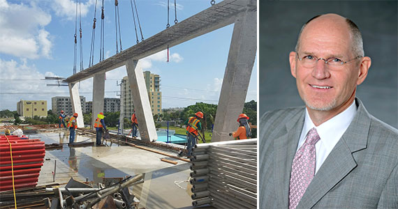 Construction workers place V columns at the Fort Lauderdale Brightline station (Inset: All Aboard Florida President Michael Reininger)