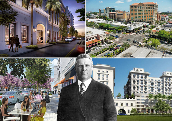 Rendering of Giralda Place, Coral Gables aerial (Credit: Marc Averette), renderings of Paseo de la Riviera and Miracle Mile
