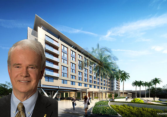 Rendering of the Hilton Miami/Dadeland (Inset: Baptist Health South Florida CEO Brian Keeley)