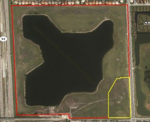 Aerial view of the Miami Lakes land. Lennar's tract is outlined in red, while Dunn's is marked with yellow.
