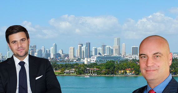 A 2008 photo of downtown Miami as seen from South Beach (Credit: Marc Averette) (Inset: Daniel de la Vega and Anthony Graziano)