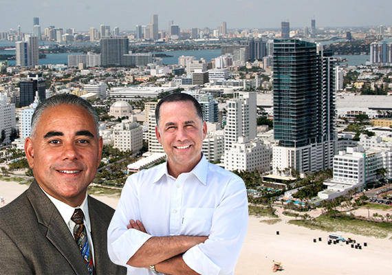 Miami Beach City Manager Jimmy Morales, Mayor Philip Levine, and an aerial view of Miami Beach