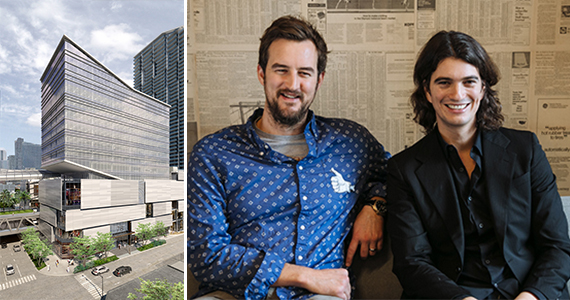 A rendering of Two Brickell City Centre and WeWork's Miguel McKelvey and Adam Neumann