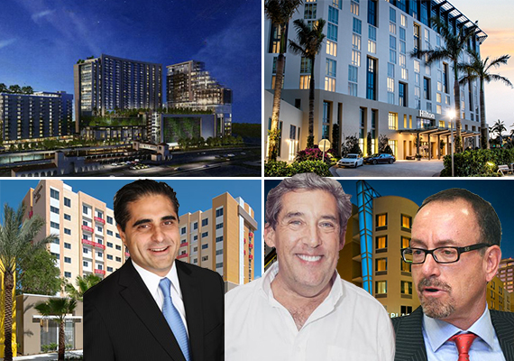Rendering of the Transit Village, Hilton West Palm, Hyatt Place and a Residence Inn. Inset: Paul Weimer, Neil Kozokoff and Neil Merin