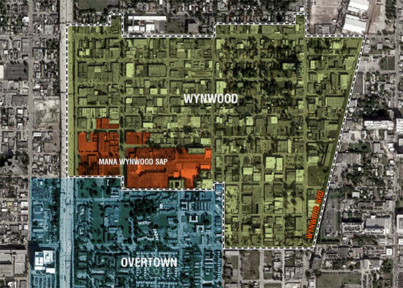 Overhead view of Wynwood, the Mana Special Area Plan and Overtown