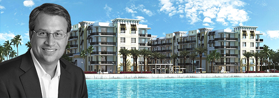 Trinsic managing director Brian J. Tusa and a rendering of Aura Seaside