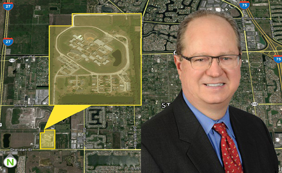 Aerial view of the former Broward Correctional Institute and Tim Gunter, president and CEO of Core5 Industrial Partners