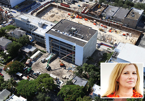 An aerial of construction at the Institute of Contemporary Art (Inset: ICA Director Ellen Salpeter)