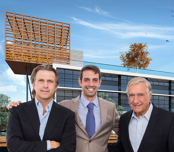 A rendering of Sushi Samba and the Melo Group's Carlos, Martin and Jose Melo
