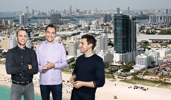 Miami Beach and Airbnb founders Joe Gebbia, Nathan Blecharczyk and Brian Chesky