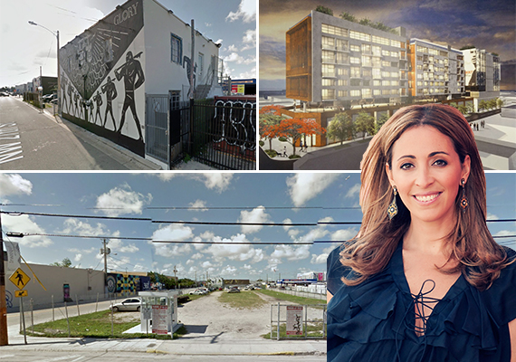 The properties Goldman sold, a proposed rendering (Credit: The Next Miami) and Jessica Goldman Srebnik