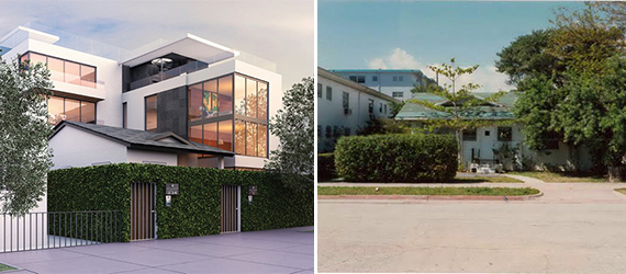 Rendering of Sofi House, left, and the pre-war bungalow
