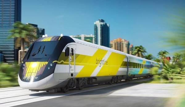 Rendering of a Brightline passenger train
