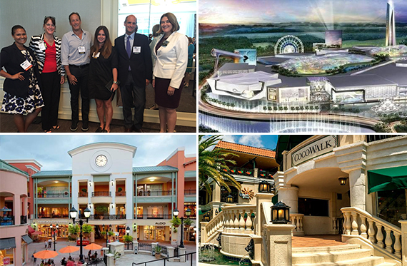 Emon Reiser, Kristen Mueller, Michael Comras, Sara Wolfe, Tom Roth and Cristina Lumpkin; Rendering of American Dream Miami; CocoWalk; and the Shops at Sunset Place