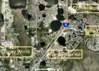 Aerial view of Orlando-area theme park district