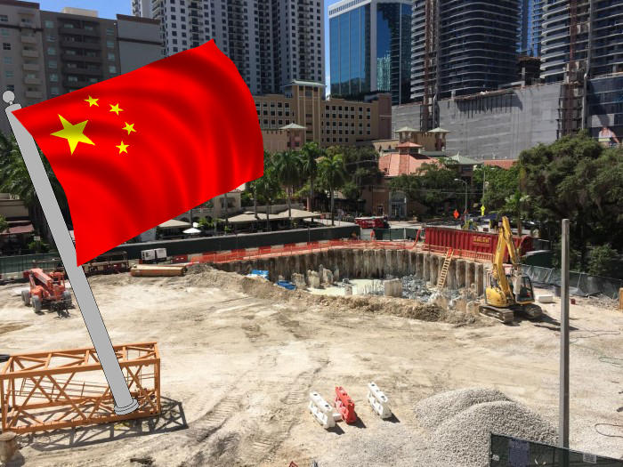 Brickell Flatiron construction site in September and the Chinese flag