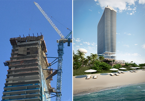Construction materials hanging from Echo Brickell (Credit: Hiten Samtani) and a rendering of Hyde Resort & Residences Hollywood