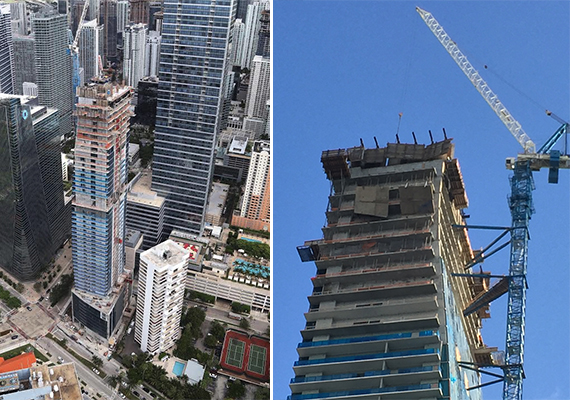 The Echo Brickell tower as of September, left, and construction materials hanging from the building (Credit: Hiten Samtani)