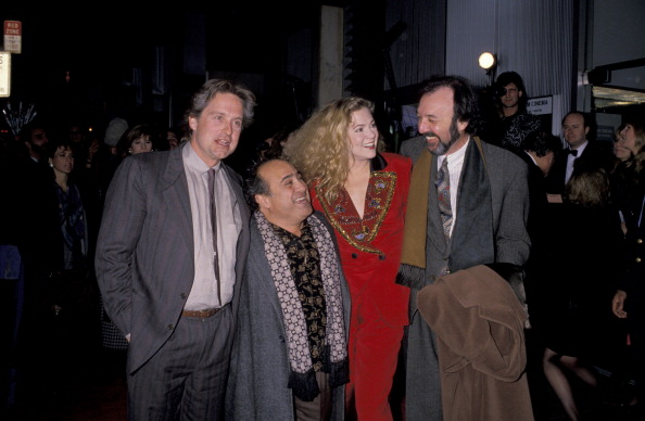 """Michael Douglas, Danny Devito, Kathleen Turner, and James L. Brooks at the """"War of the Roses"""" premiere (Photo by Ron Galella/WireImage)"""