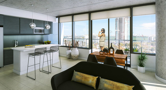Rendering of a unit at Midtown Five