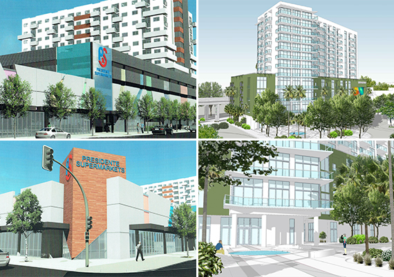 Clockwise from left: renderings of Eight and First, Cassa Grove, and Eight and First