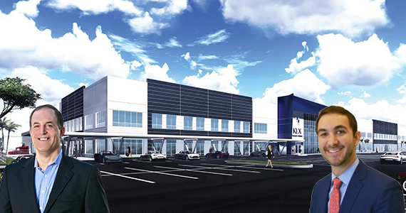 Rendering of the KLX facility. Inset: Dan Marcus of Flagler Global Logistics, and Matthew Cheezem of JLL