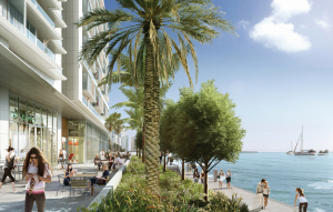 (Click to enlarge) The all-glass retail liner fronting Biscayne Bay