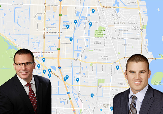 Map of properties. Inset: Cushman & Wakefield's Scott O'Donnell and Greg Miller