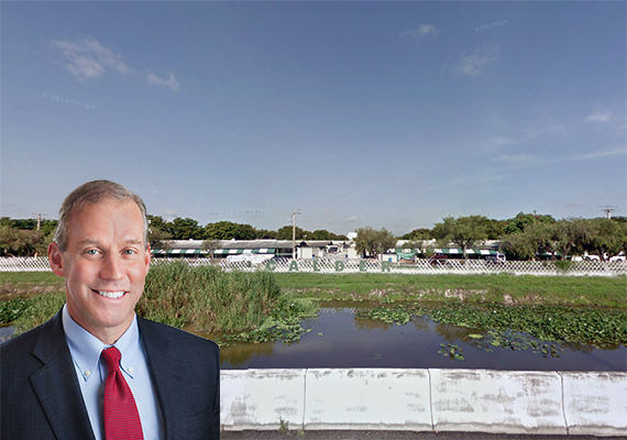 Calder land in Miami Gardens. Inset: Marshall Loeb, president and CEO of EastGroup Properties