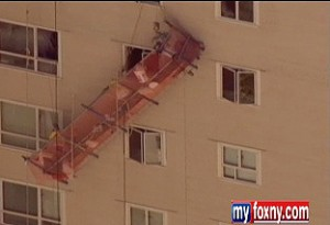 Screengrab of a scaffold collapse on East 65th Street