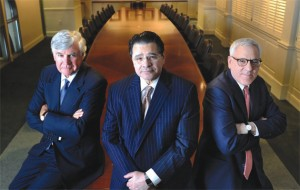 The Carlyle Group's three cofounders (left to right): William Conway Jr., Daniel D'Aniello and David Rubenstein, who reportedly received a combined $413 million in compensation last year.