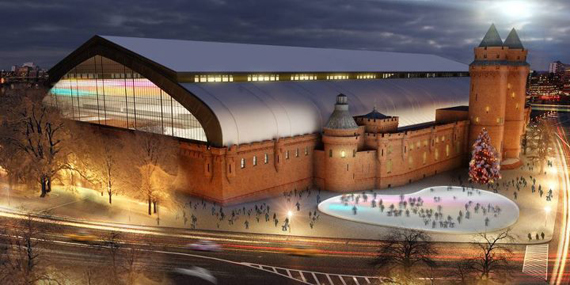A rendering of the Kingsbridge Armory ice center